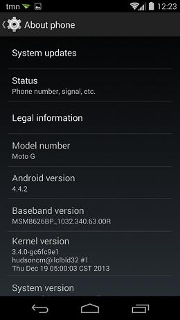 Moto G 4.4.2 KitKat Update