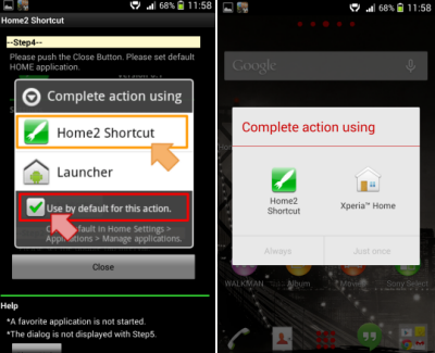 Home2 shortcut default home application