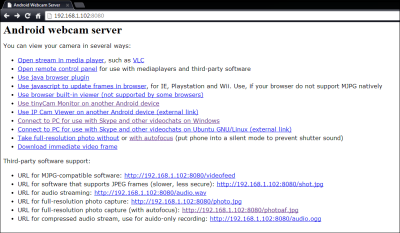 IP Webcam address browser