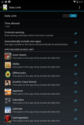 Screen Time daily limit