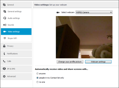 Skype options video